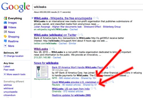 Google SERPs with shared by link