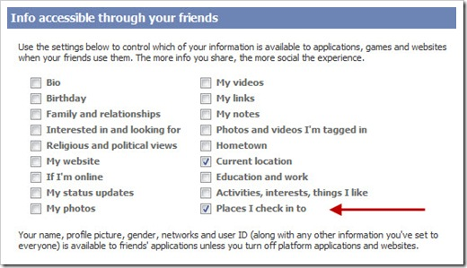 Facebook Places - change privacy settings for apps to access