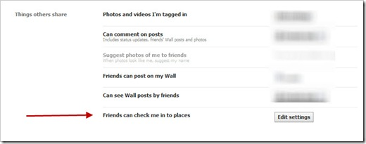 Facebook Places - change privacy settings things others share