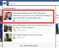 Facebook Questions notifiication