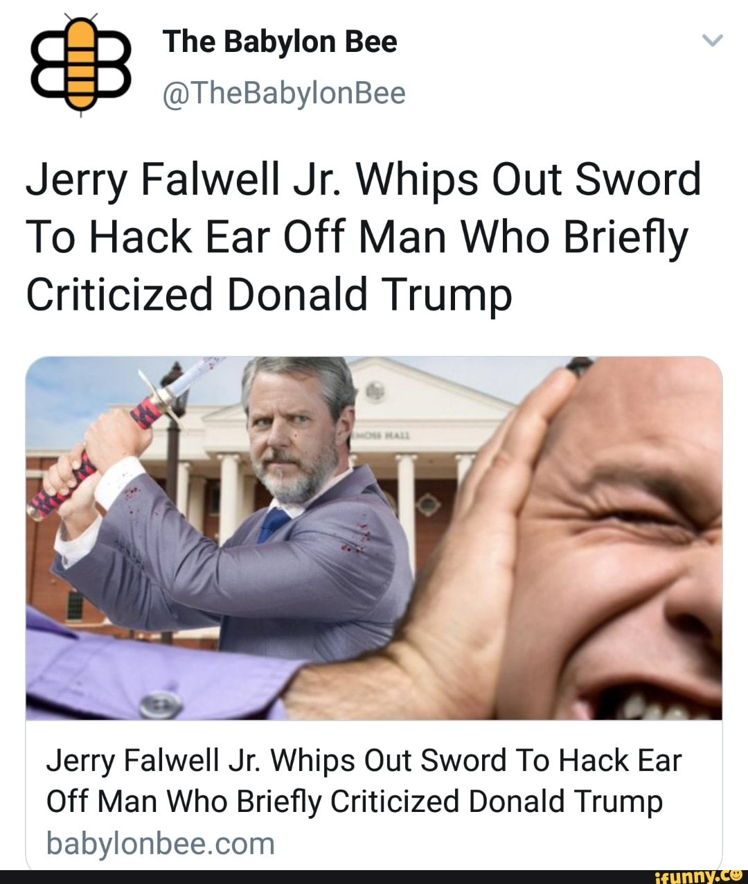 Jerry Falwell Jr Whips Out Sword To Hack Ear Off Man Who Briefly