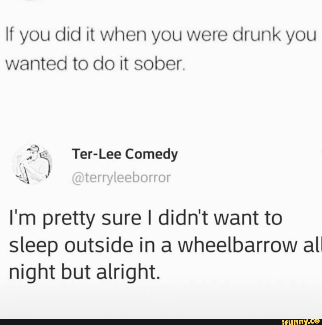 If You Did It When You Were Drunk You Wanted To Do It