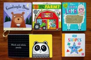 0-1歲以上親子共讀書單 觸摸書,膠片找找書,草泥馬亮片書,動物農場推拉書,黑白書