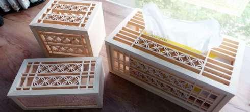 台灣老師傅的手工花窗再發光 古錢花磁吸面紙盒,收納盒,紙巾盒,六角杯墊