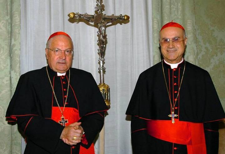 Angelo Sodano y Tarcisio Bertone