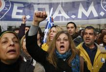 People shout during a huge anti-austerity demonstration in Athens' Syntagma square
