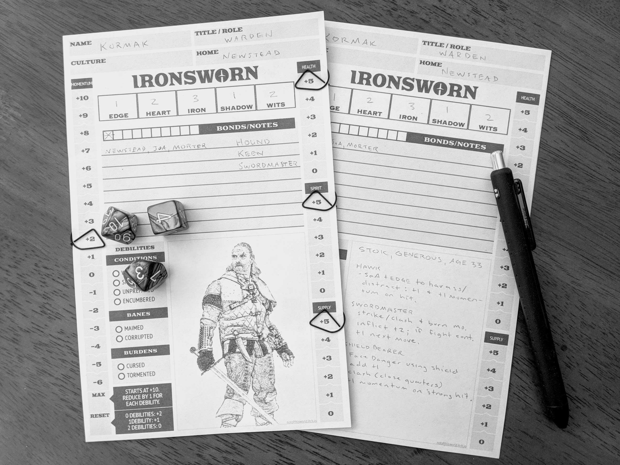 Ironsworn Half Page Worksheets By Notofthisworld