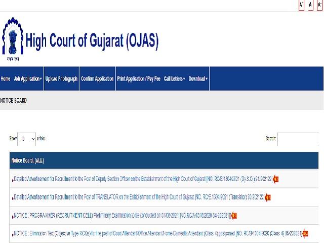 गुजरात उच्च न्यायालय भर्ती 2021