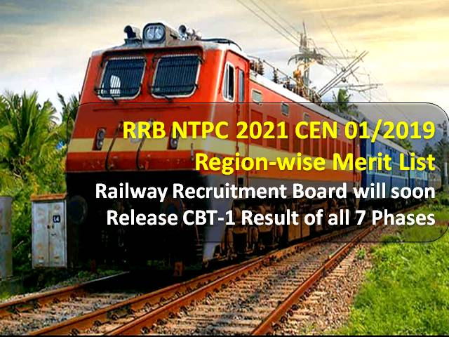 RRB NTPC 2021 Regionwise Merit List: Railway Recruitment Board will soon release CEN 01/2019 CBT-1 Result of all 7 Phases