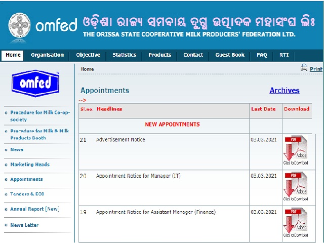 OMFED Recruitment 2021 for 38 Manager, Dy. Manager & Other Posts, Download Odisha Coopertaive Milk Notification @omfed.com