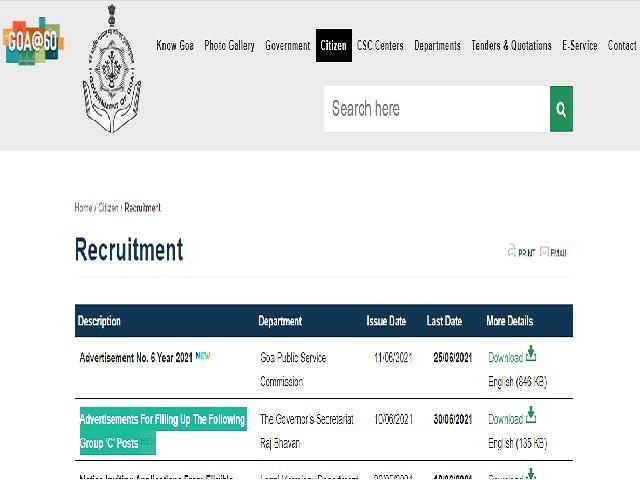12 Group C Vacancies Notified in Governor's Secretariat, Raj Bhavan