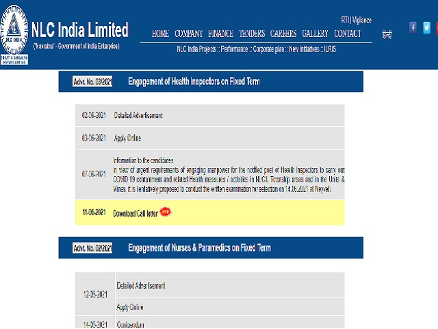 NLC Health Inspector Admit Card 2021 Released @nlcindia.in, Check NLC Call Letter Download Link Here