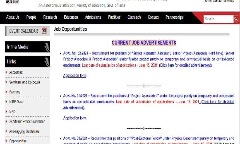 IISER Pune Recruitment 2021 for Sr Research Assistant, Sr Project Associate & Project AssociatePosts