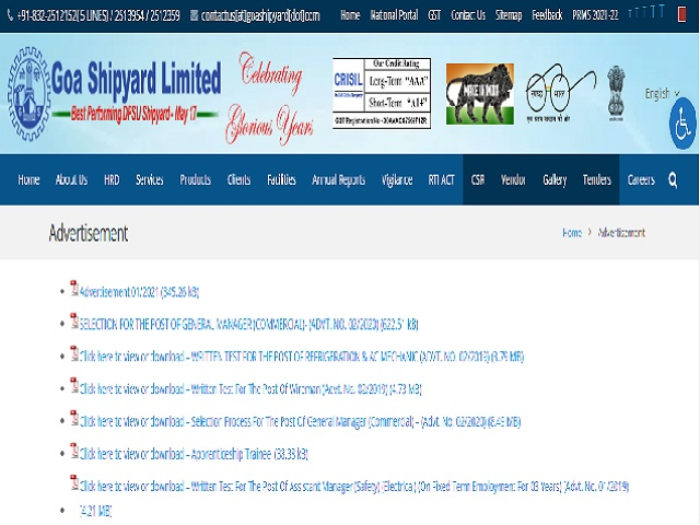 Goa Shipyard Limited Recruitment 2021 for Managerial Posts, Apply Online @goashipyard.in