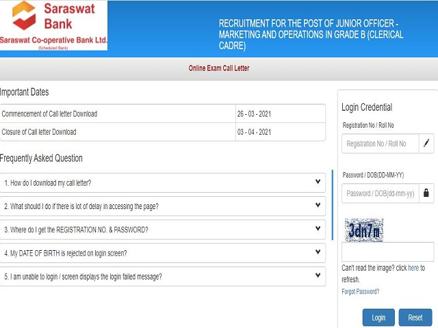 Saraswat Bank Jr Officer Admit Card 2021 Out @saraswatbank.com, Download Link Here