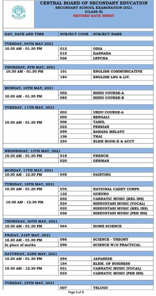 Revised CBSE Date Sheet 2021: 10th - 1