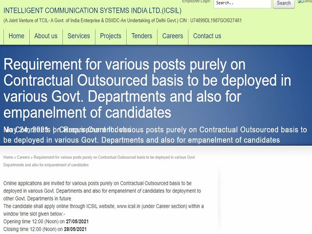 ICSIL Delhi Recruitment 2021 for 111 Safaiwala, DEO, Ward Boy and Other Posts, Apply Online @icsil.in