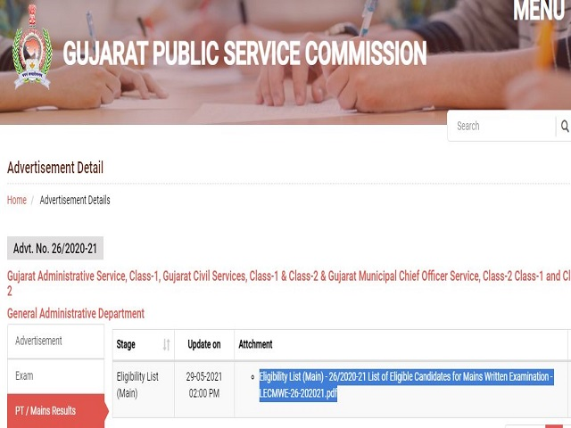 GPSC Civil Service Result 2021 Out, Download Gujarat Administrative Service Selection List for Mains Exam, Cut-Off @gpsc.gujarat.gov.in