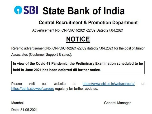 SBI Clerk Prelims Exam Postponed 2021 due to COVID -19, Official Notice Out @sbi.co.in