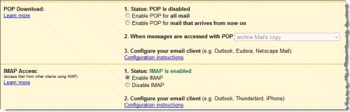 Gmail POP3 and IMAP Settings