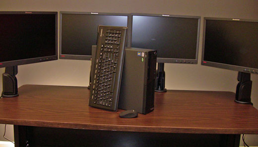 ThinkCentre M75e with 4 ThinkVision monitors