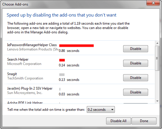 IE9 speed up by disabling add-ins