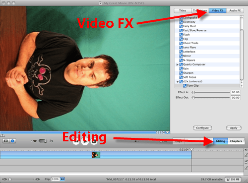 Configure Turn Clip Roatate FX in iMovie