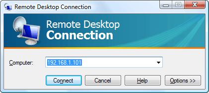 Remote Desktop connect screen