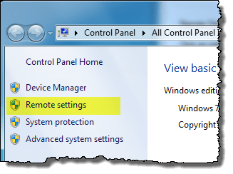 manage Windows 7 Remote Desktop settings