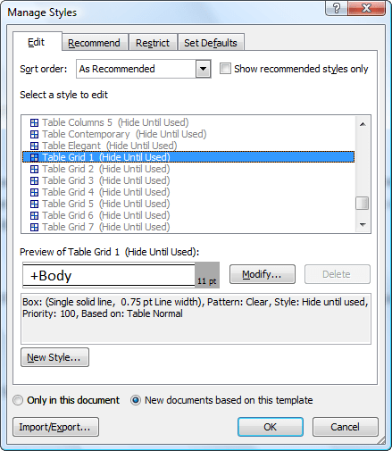 Set Microsoft Word 2007 Default Table Font and Style