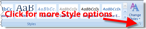 Display Word 2007 Styles