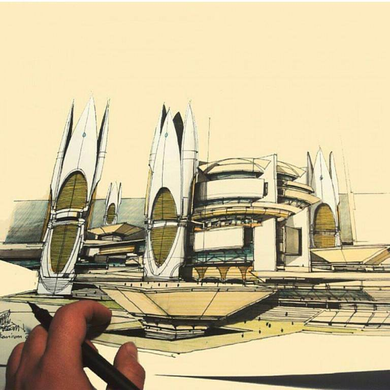 133建築設計師手稿作品