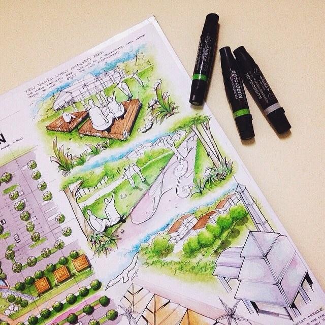 150建築設計師手稿作品