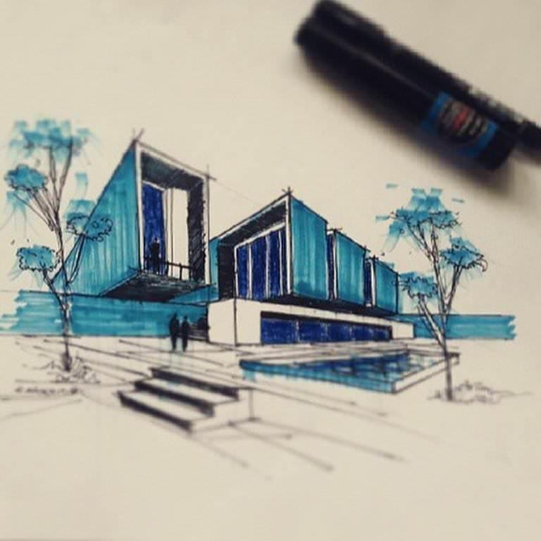 220建築設計師手稿作品