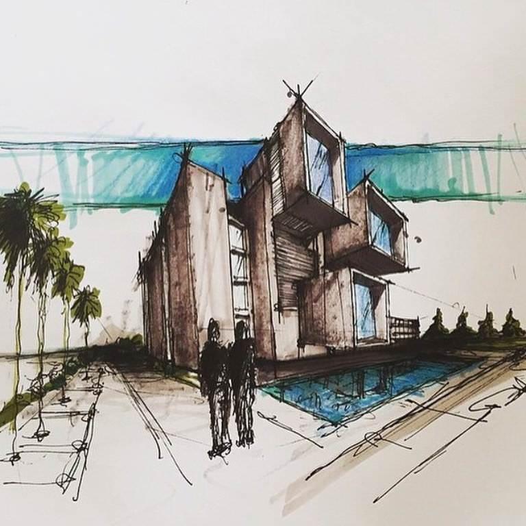 232建築設計師手稿作品