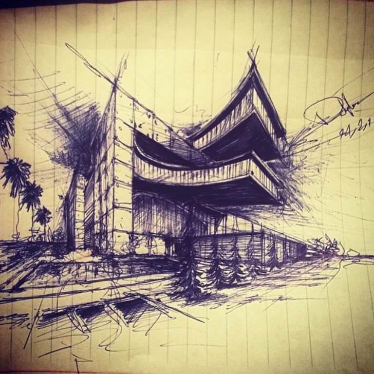 233建築設計師手稿作品