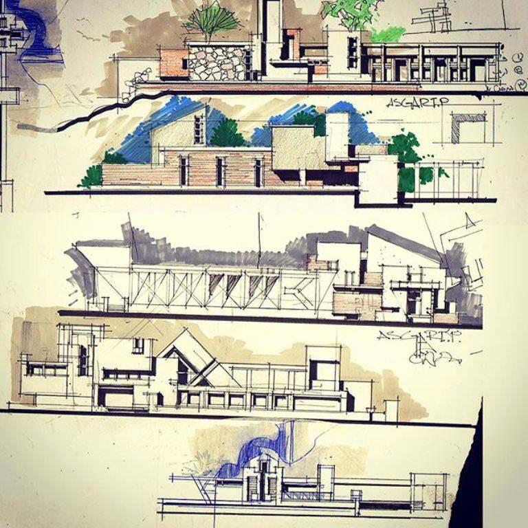 254建築設計師手稿作品