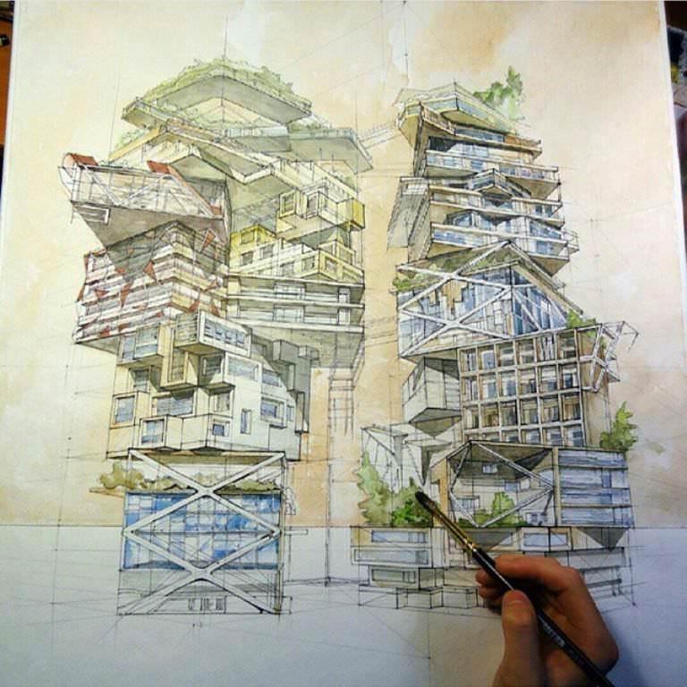 460建築設計師手稿作品