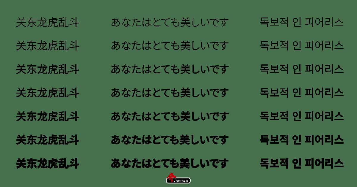 思源黑體範例字體
