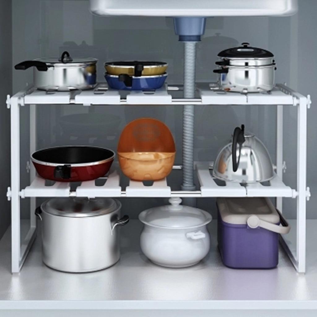 under sink storage cabinet rack multifunctional 2 tier expandable shelf storage organizer holder adjustable stainless steel kitchen ware
