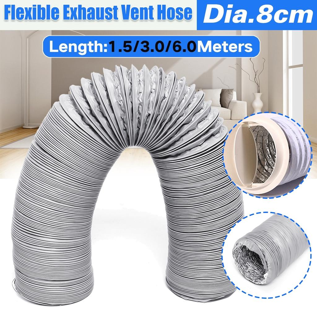 80 100mm dia extractor fan duct hose fume flexible ducting vent pipe aluminum foil duct hose used for air conditioner kitchen exhaust 5 10 20 ft