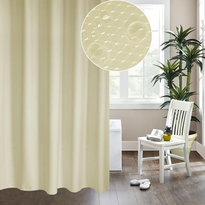 shower curtain beige thickening waterproof and mildew honeycomb texture polyester fabric bathroom curtains