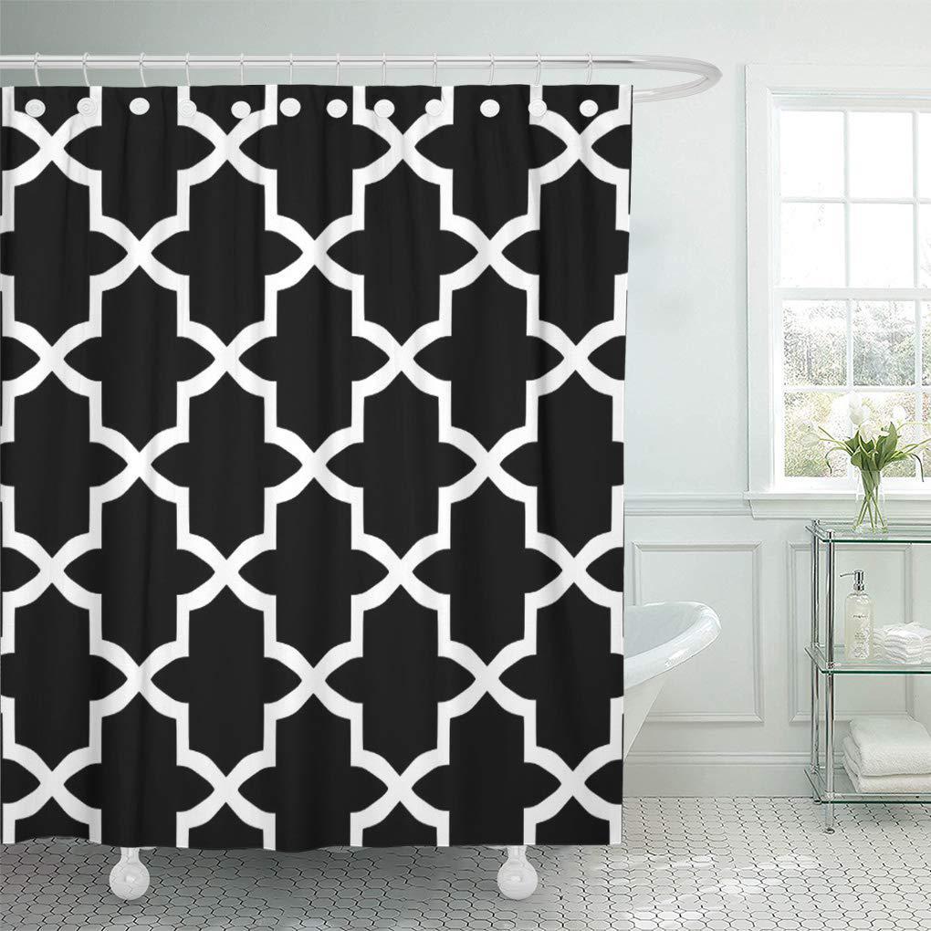 colorful garden black and white trellis pattern patio modern shower curtain 60x72inch 150x180cm