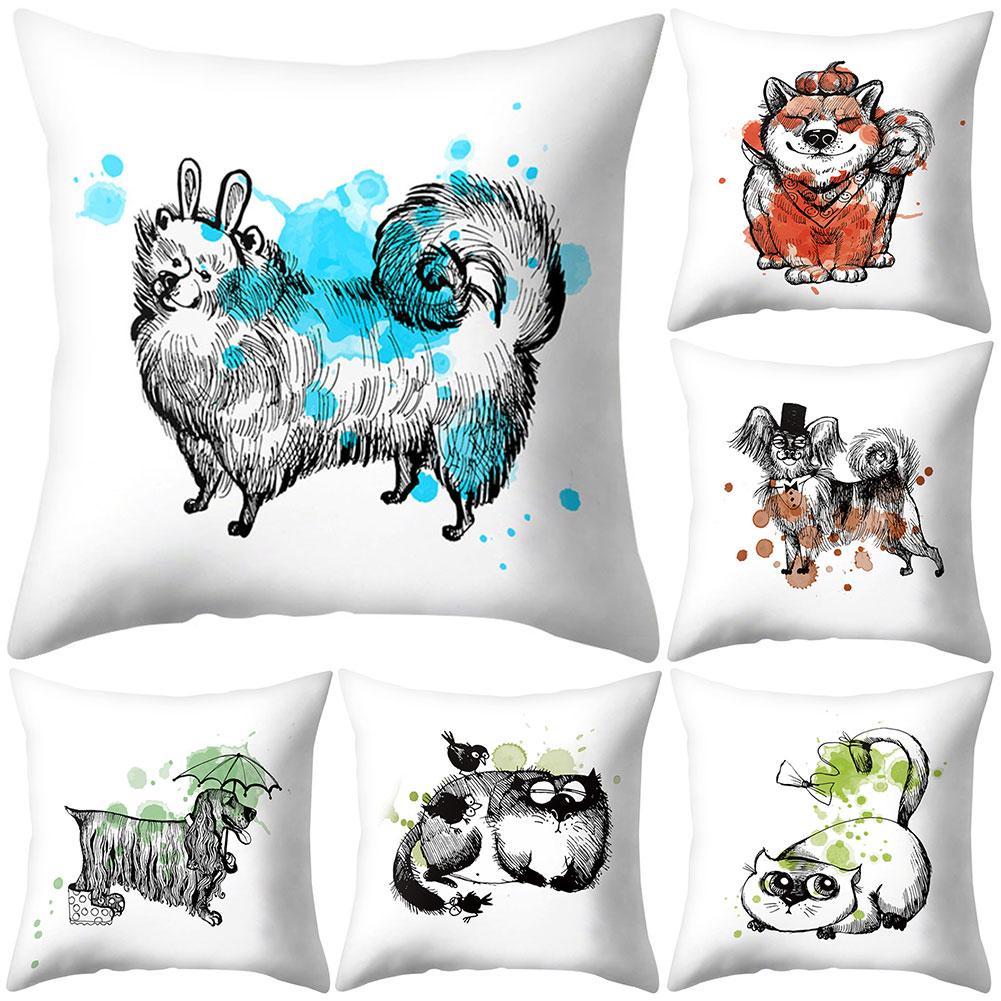yousheng cartoon dog cat throw pillow case cushion cover home office chair sofa car decor