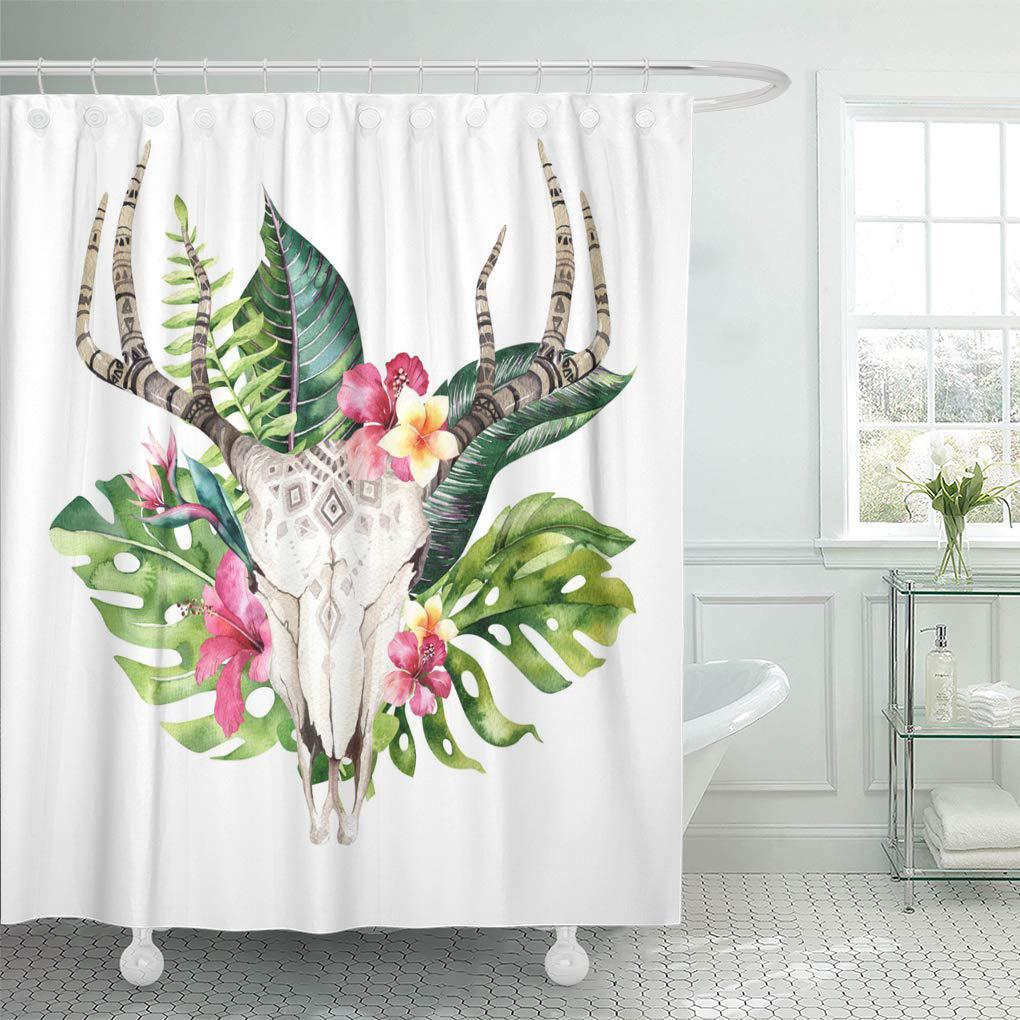 watercolor bohemian cow skull and tropic palm leaves western deer shower curtain 60x72inch 150x180cm