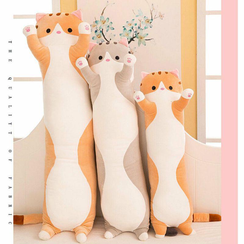 long cat plush toy soft stuffed kitten pillow kids sleeping pillow home decor