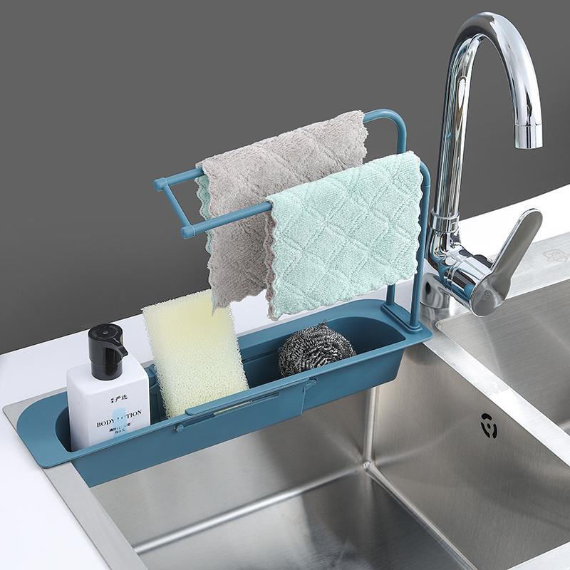 telescopic sink shelf soap sponge drain rack storage basket faucet holder adjustable sink drain sponge holder kitchen accessorie