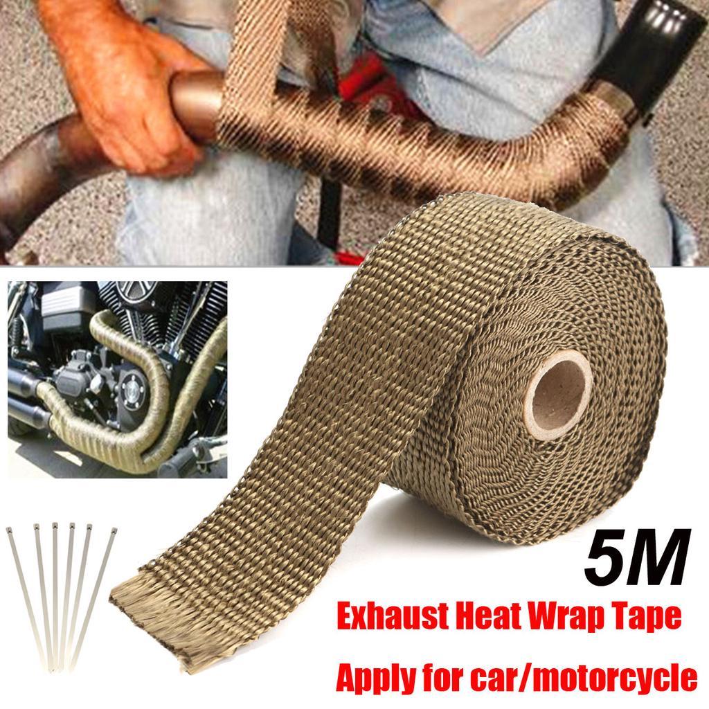 5 08cmx1 59 mmx5m high temp titanium heat wrap exhaust manifold downpipe insulation tape 6 cable