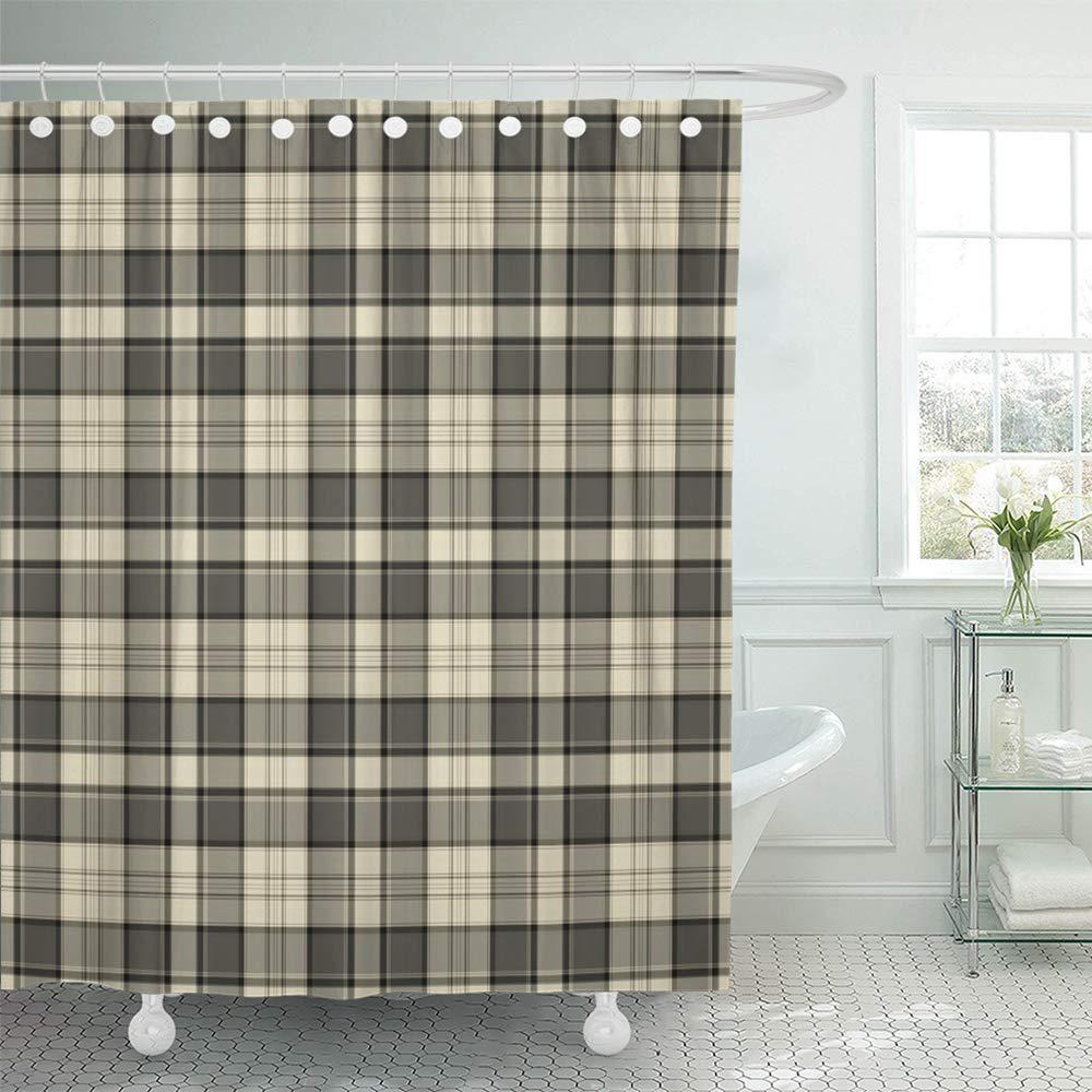 black flannel plaid pattern tan masculine cream country tartan taupe autumn cabin bath shower curtain 66x72inch 165x180cm