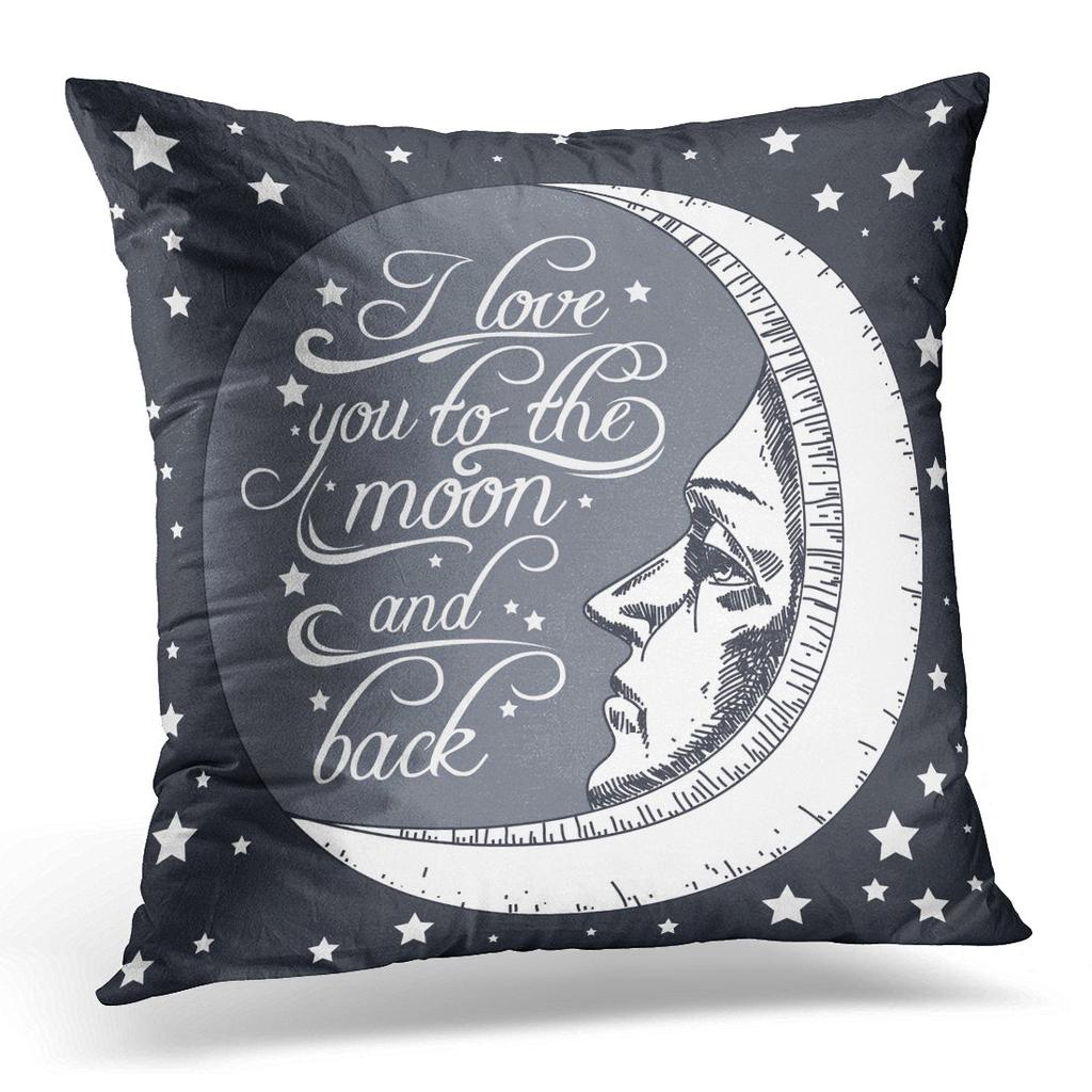 quote engraving i love you to the moon and back for valentines day save date and bags pillow case cover 20x20inch 50x50cm